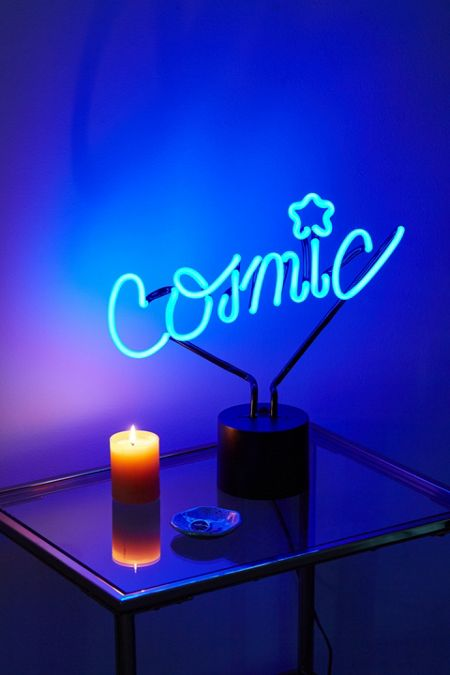 blue neon lights table lamps cinema boxes urban outfitters