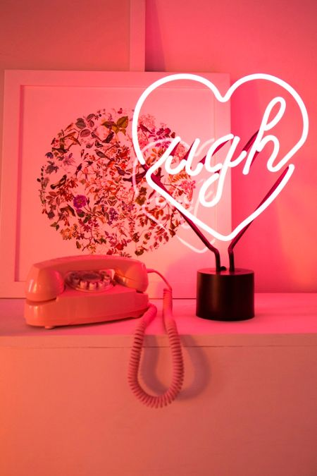 pink neon lights table lamps cinema boxes urban outfitters