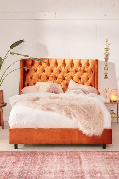 Charlotte Velvet Tufted Wingback Bed - Orange FULL at Urban Outfitters