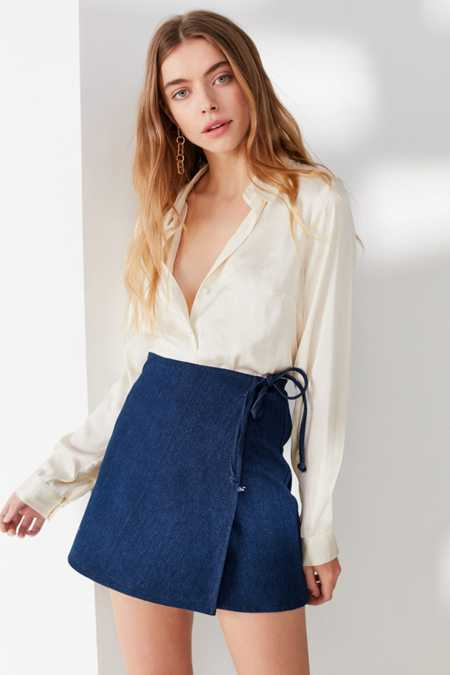 Urban Renewal Remade Denim Wrap Mini Skirt