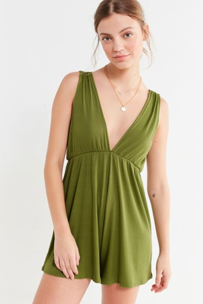 UO Ribbed Knit Plunging Babydoll Romper - Green XS at Urban Outfitters