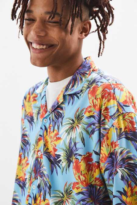 Loom Oversized Tropical Floral Camp Collar Shirt