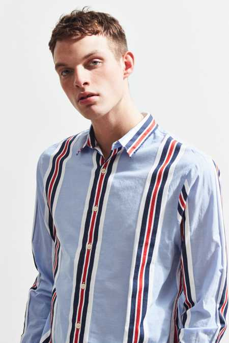 UO Light Blue Preppy Stripe Button-Down Shirt