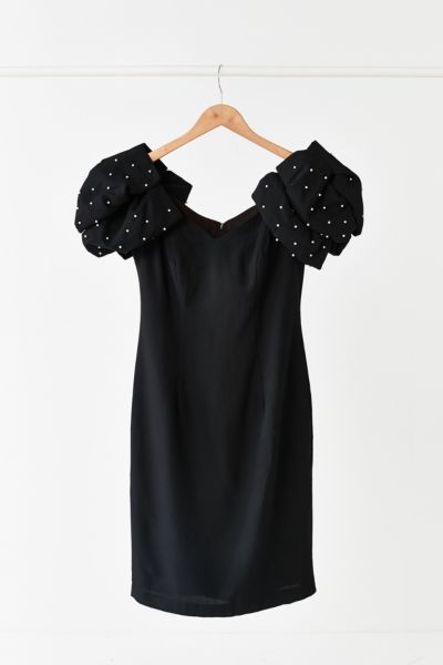 Vintage '80s Puff Sleeve Pearl Dress - Assorted One Size at Urban Outfitters