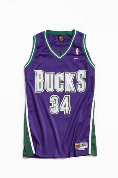 Vintage Nike Ray Allen Milwaukee Bucks Basketball Jersey - Purple XL at Urban Outfitters