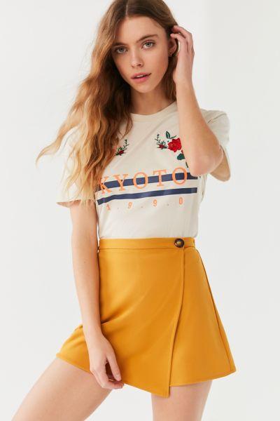UO Blair Button Skort Short - Mustard XS at Urban Outfitters
