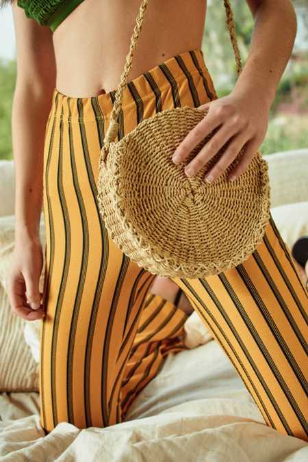 Small Circle Straw Round Crossbody Bag