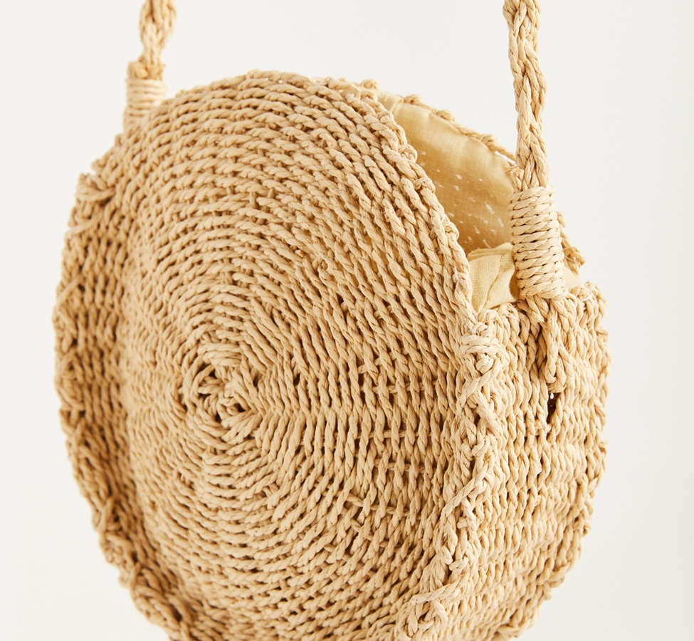 Slide View: 4: Small Circle Straw Round Crossbody Bag