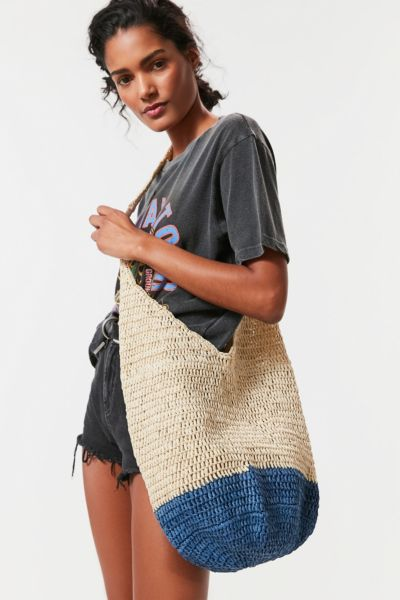 Slouchy Straw Tote Bag - Blue One Size at Urban Outfitters