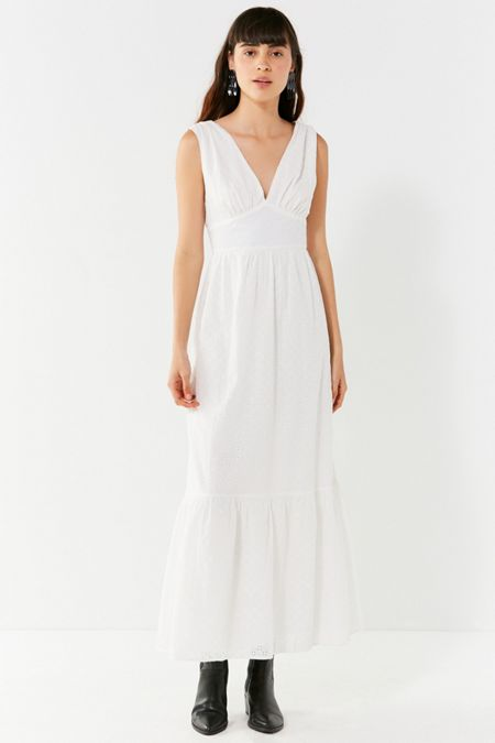 404ae3834b7 UO Embroidered Eyelet Maxi Dress. Quick Shop