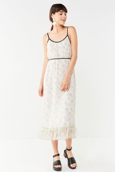 UO Floral Chiffon Ruffle Hem Midi Dress - Neutral Multi XS at Urban Outfitters