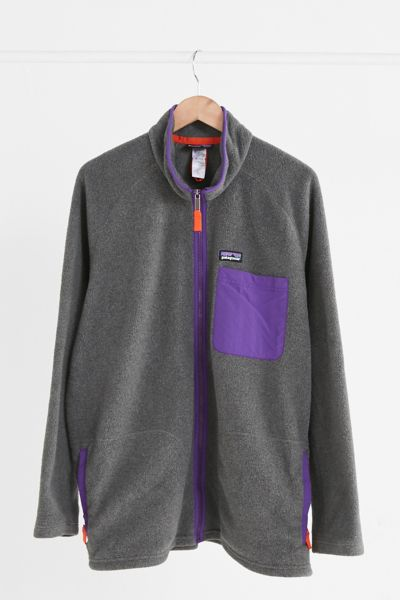 Vintage Patagonia Charcoal + Purple Fleece Jacket - Assorted One Size at Urban Outfitters