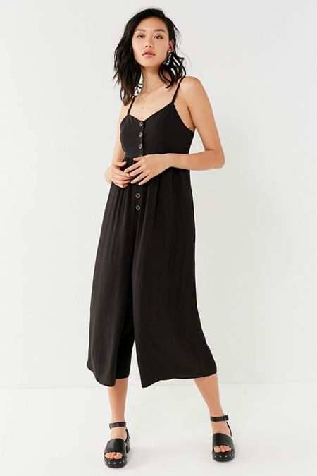 UO Tootsie Button-Down Cropped Jumpsuit