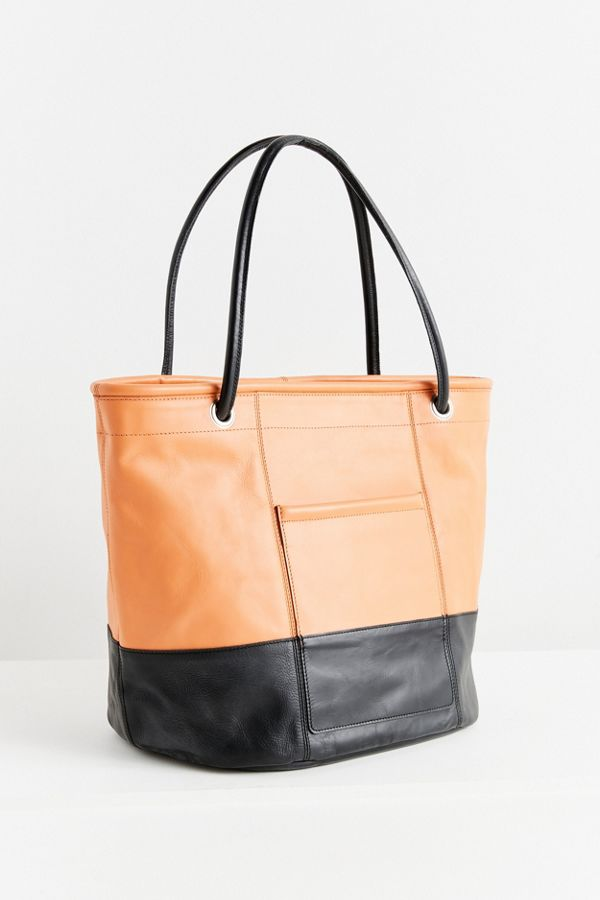Colorblock Leather Bucket Tote Bag