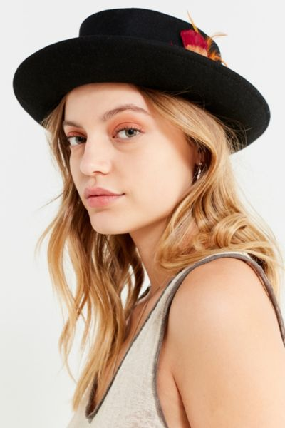 Wool Porkpie Feather Hat by Urban Outfitters