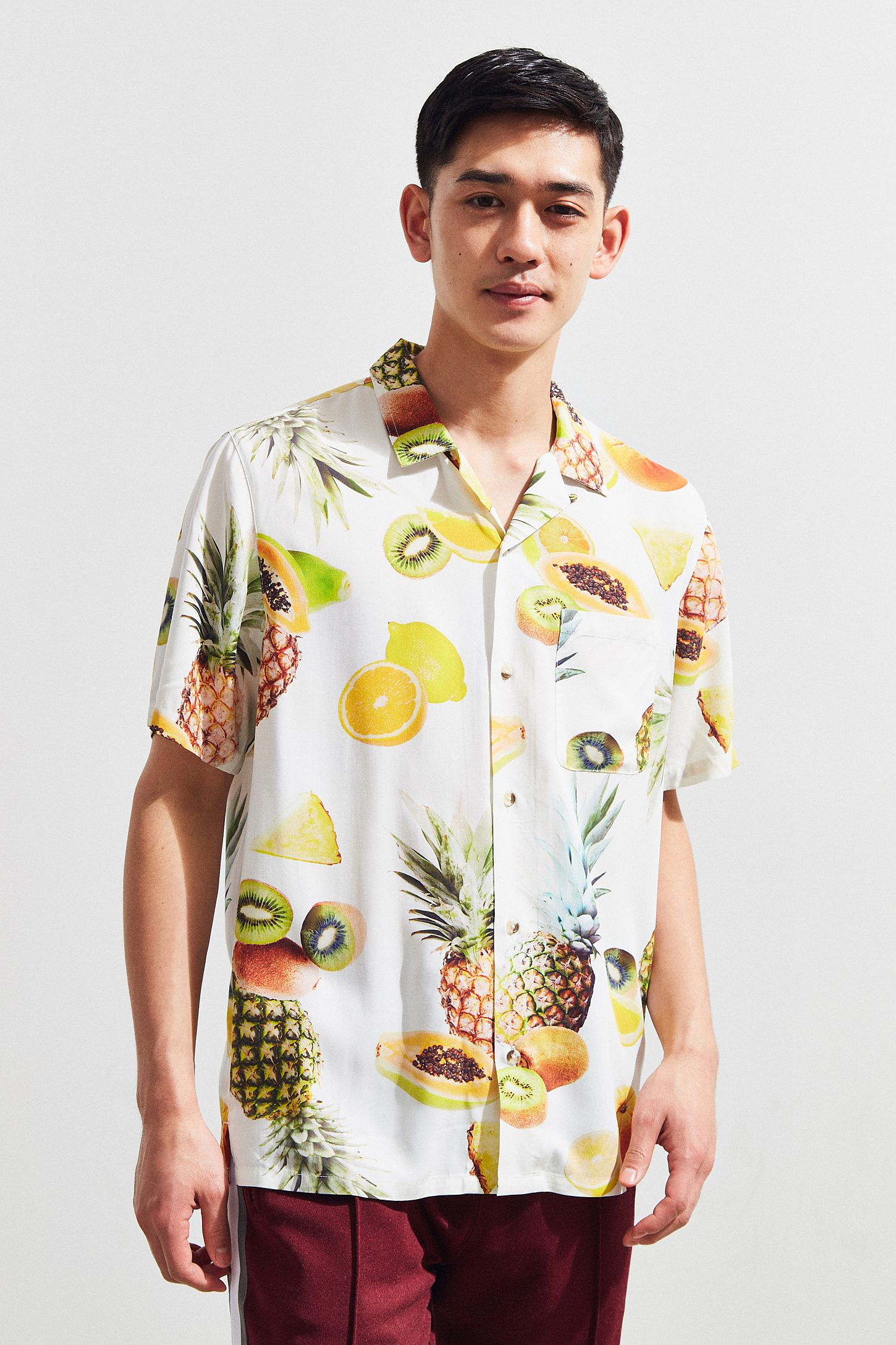 Uo Fruit Print Rayon Short Sleeve Button Down Shirt Urban Outfitters