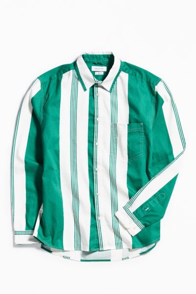 UO Stripe Button-Down Shirt - Green S at Urban Outfitters