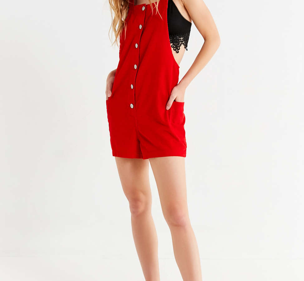 Slide View: 2: UO Button-Down Corduroy Romper