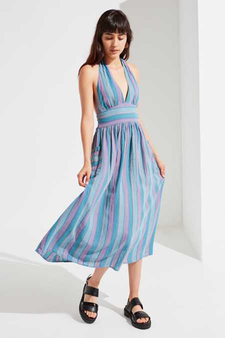 UO Betsey Linen Halter Midi Dress