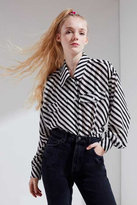 Ghospell Straight Talk Striped Button-Down Shirt