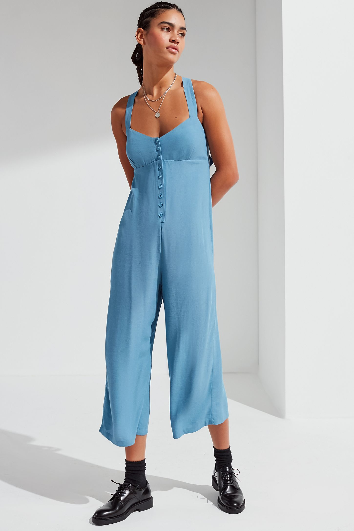04387d0ae0ff UO Asher Empire Waist Button-Down Jumpsuit