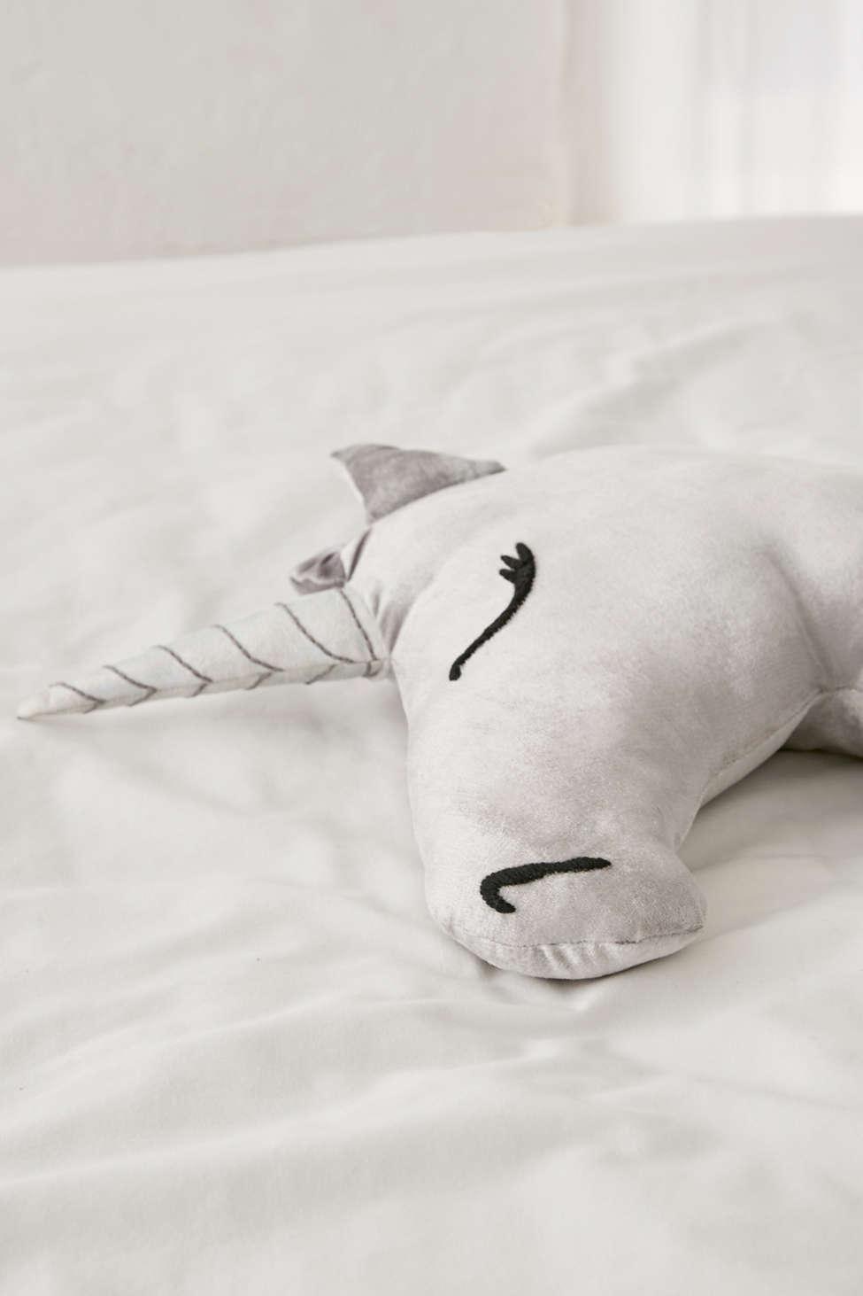 Slide View: 1: Velvet Unicorn Throw Pillow