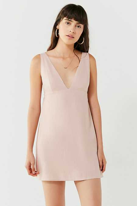 UO Breezy Plunging Linen Mini Dress