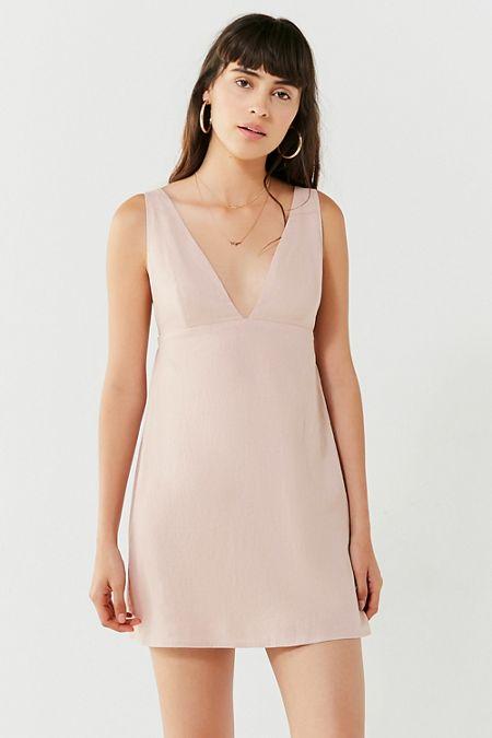 UO Breezy Plunging Linen Mini Dress
