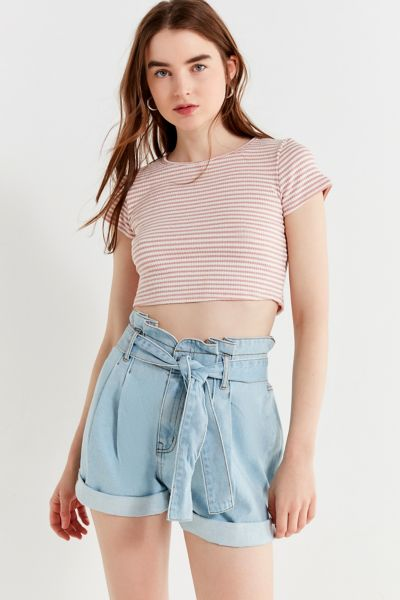 Bdg Paperbag Tie Mom Short Urban Outfitters