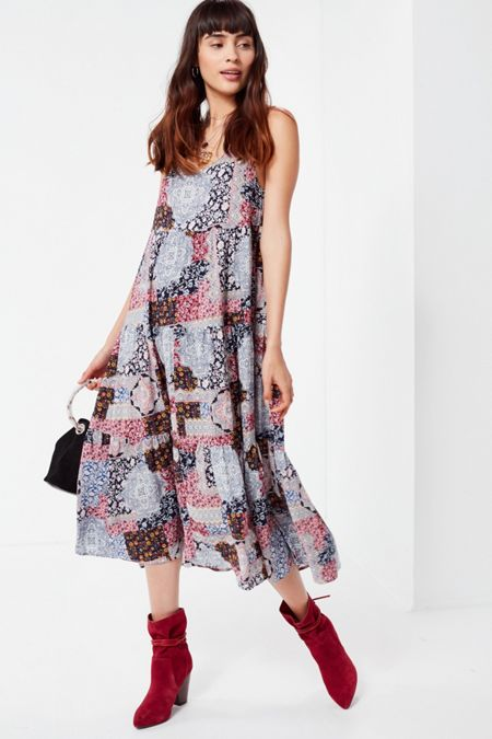 25d79536874 UO Tiered Patchwork Midi Dress