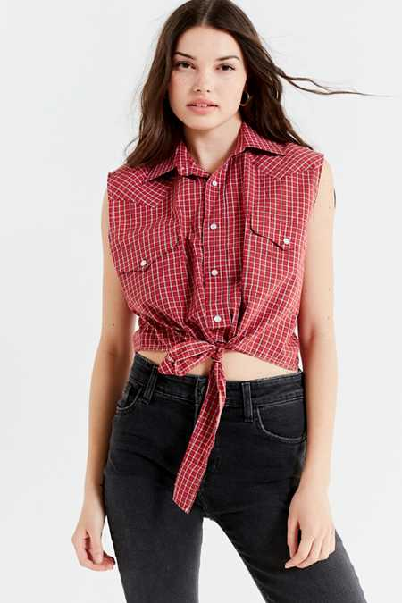 Urban Renewal Recycled Western Tie-Front Top
