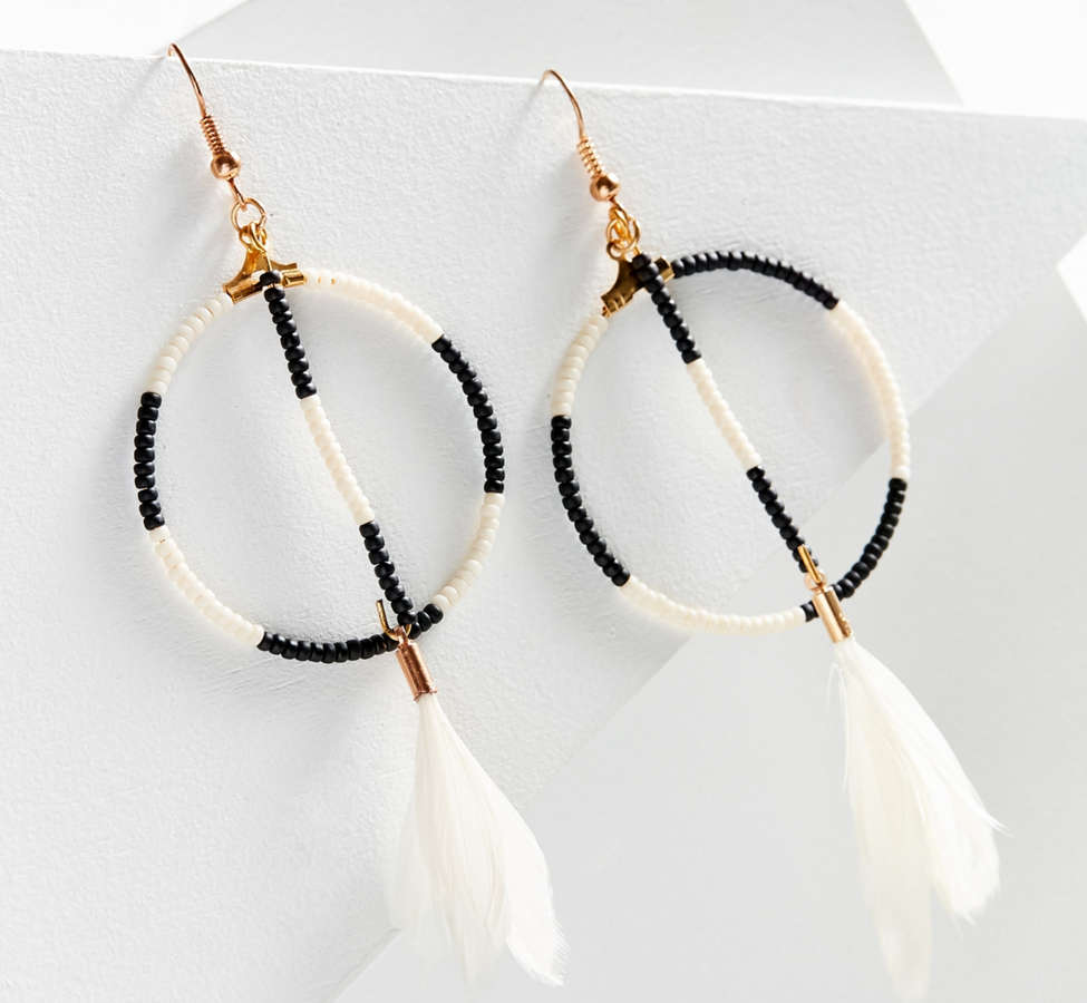 Slide View: 1: Fiona Paxton Sunray Beaded Hoop Drop Earring