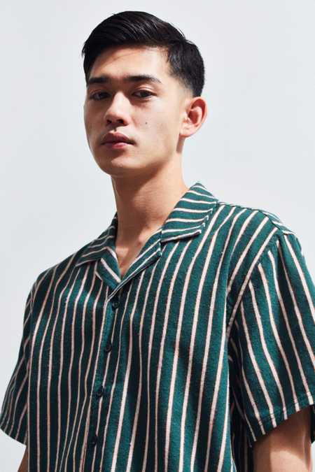 Publish Striped Short Sleeve Button-Down Shirt