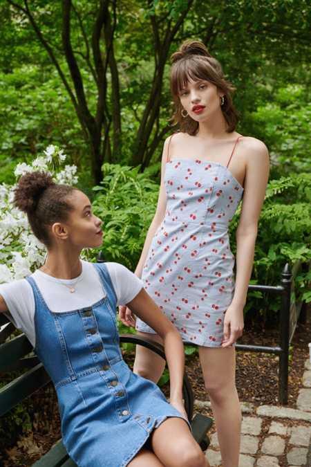 UO Button-Down Denim Mini Dress