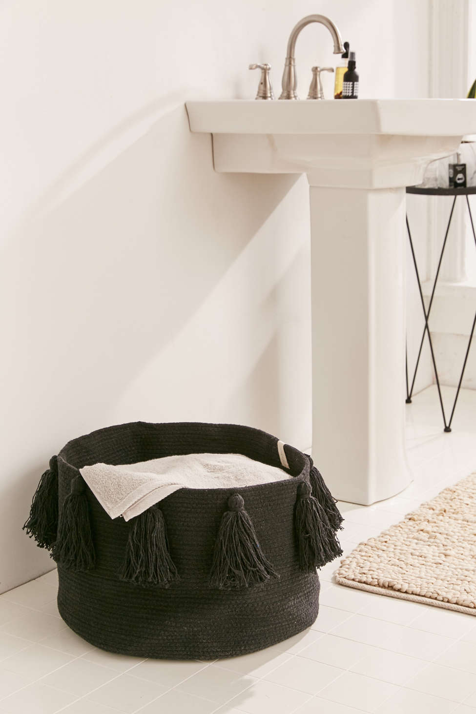 Slide View: 1: Lorena Canals Tassel Laundry Basket