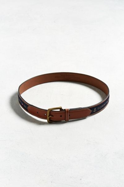 Tommy Hilfiger Logo Belt - Brown 32 at Urban Outfitters
