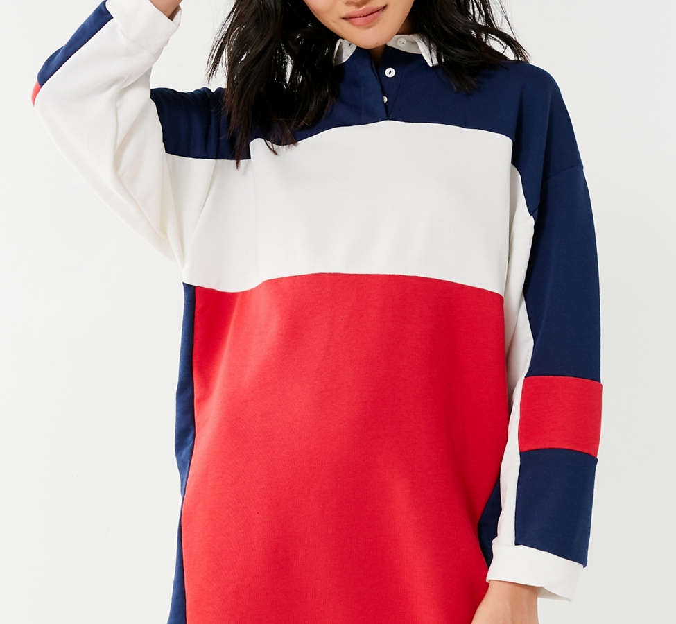 Slide View: 1: UO Colorblock Rugby T-Shirt Dress