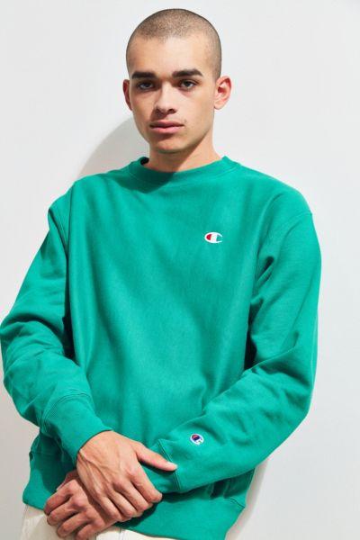 Champion Reverse Weave Fleece Crew Neck Sweatshirt - Green XS at Urban Outfitters