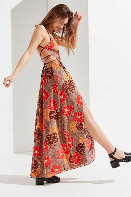 UO Gia Lace-Up Maxi Dress