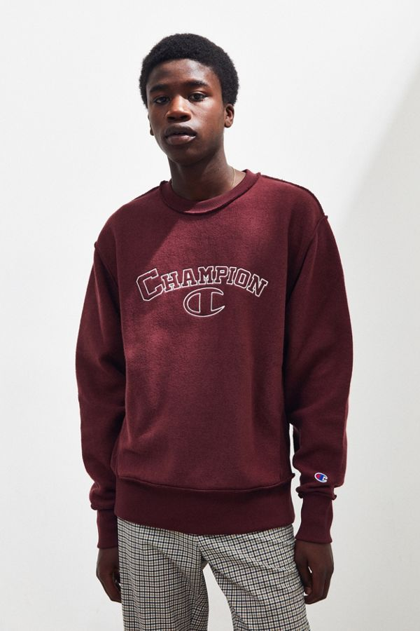 Champion UO Exclusive Embroidered Inside Out Crew-Neck Sweatshirt ... d5958585fe5b