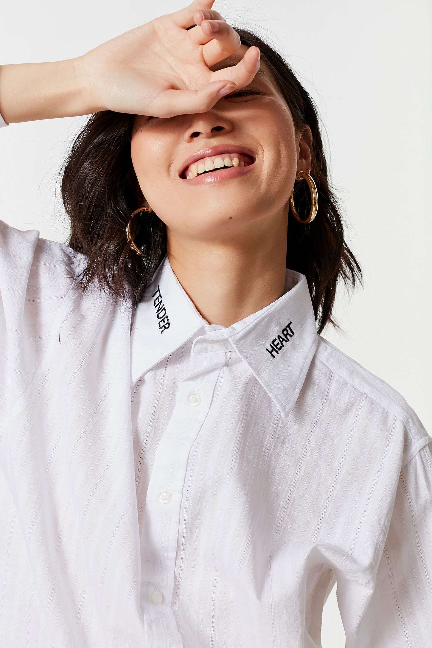 Vintage Embroidered Collar Button Down Shirt Urban Outfitters