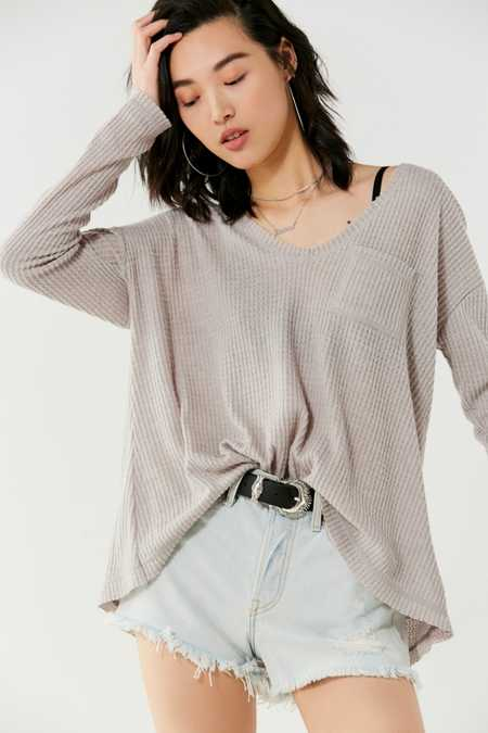 UO Lyla A-Line Thermal Long Sleeve Top