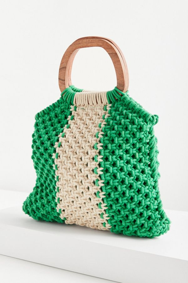 Wood Handle Stripe Macrame Tote Bag Urban Outfitters