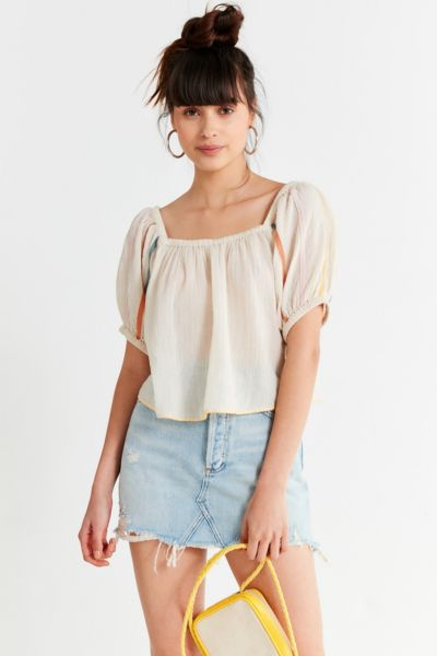 Uo Embroidered Balloon Sleeve Blouse by Urban Outfitters