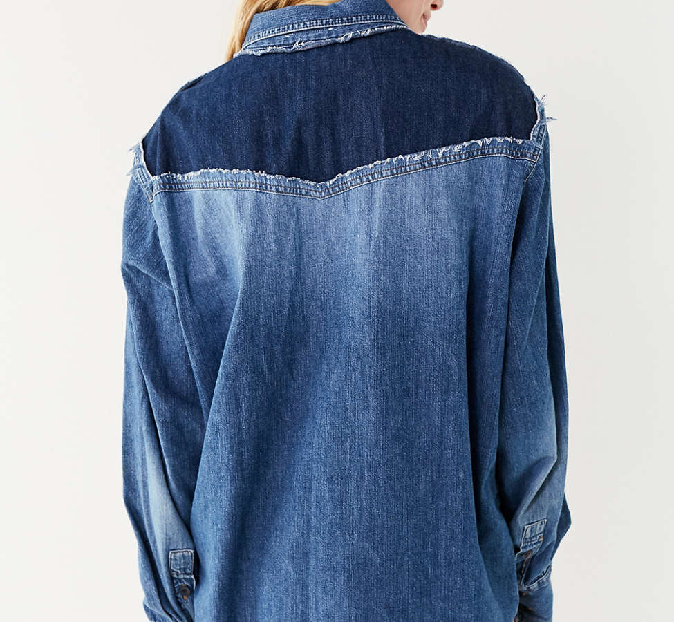 Slide View: 3: Urban Renewal Recycled Colorblock Button-Down Chambray Top