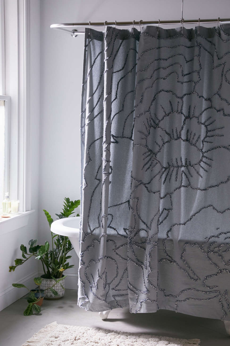 Slide View: 1: Margot Tufted Floral Shower Curtain