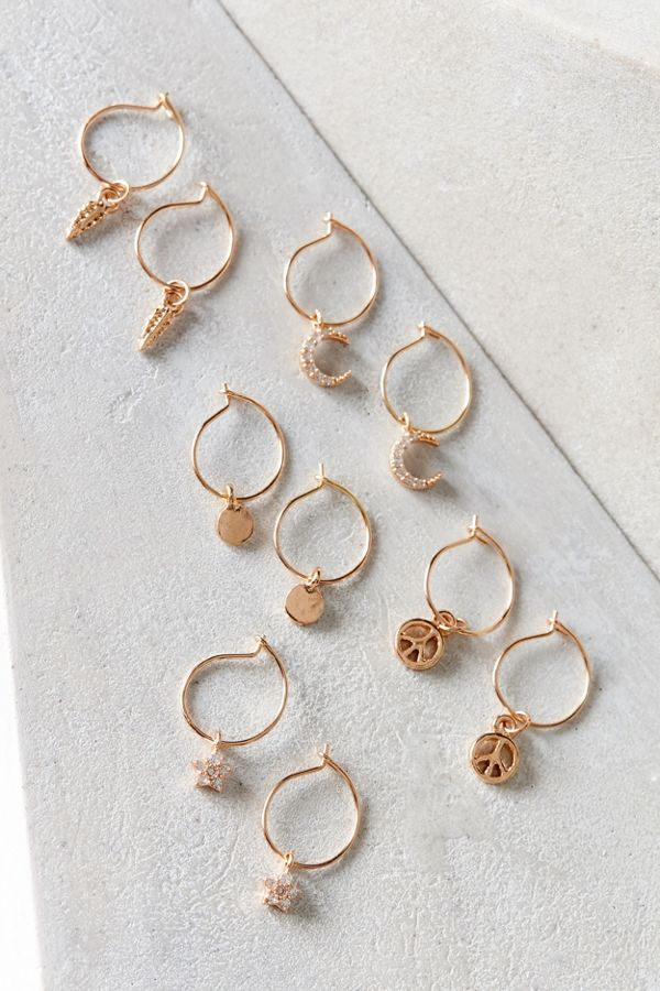 Mini Charm Hoop Earring Set