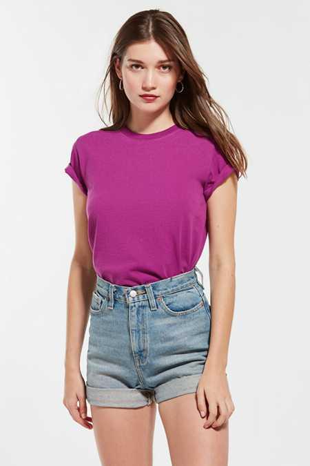 Womens Ladies Basic Drop Shoulder Tee T-Shirt Urban Classic