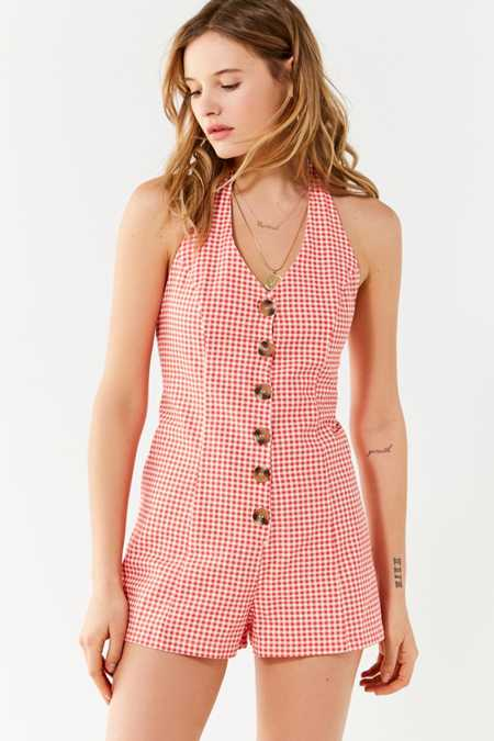 UO Tiffany Button-Down Halter Romper