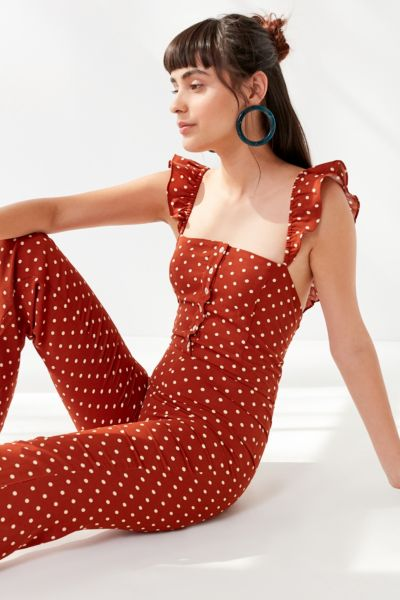 Lucca Couture Madelynn Polka Dot Ruffle Jumpsuit by Lucca Couture